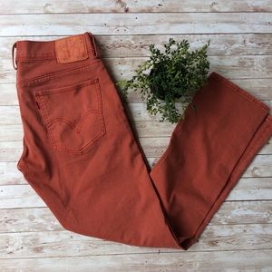 Levi's Slim Straight Rust Red Jeans Size 33/32